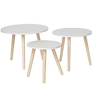 Stile scandinavo: questi tavoli nidificati in stile nordico sono semplici e puliti, offrendo un tocco caldo e accogliente alle camere. Ideale per creare un'atmosfera chic o chic. Si adattano perfettamente a qualsiasi tipo di spazio. Mobili multifunzi...