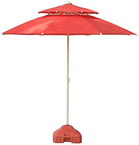 Patio Umbrella Outdoor Parasols 7.5' Double Top Outdoor Patio Sun Umbrella, Perfect For Outdoor Yard, Beach Commercial Event Market, Camping, Pool Side (Color : Red)