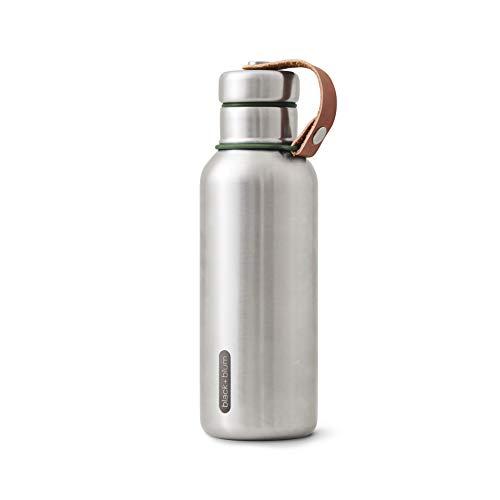 BLACK + BLUM Élégante Bouteille d'eau Isotherme en Acier Inoxydable sans BPA pour Boissons Chaudes ou Froides, Acier Inoxydable Silicone Cuir synthétique, Vert Olive, 500 ML