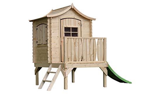 TIMBELA M550A Kleines Haus mit Terrasse - Massiv-Holz - Kinderhaus im Freien mit Schlitten auf Stelzen - Dicke 19 mm, H212 x 171 x 130 cm, 1.1 m²