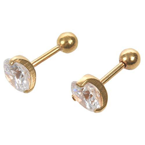 Fltaheroo Pendientes de joyeria de Hombres y Mujeres, Pendientes de Diamantes de oxido de circonio cubico, 7 mm, Acero Inoxidable, de Color Blanco y Oro