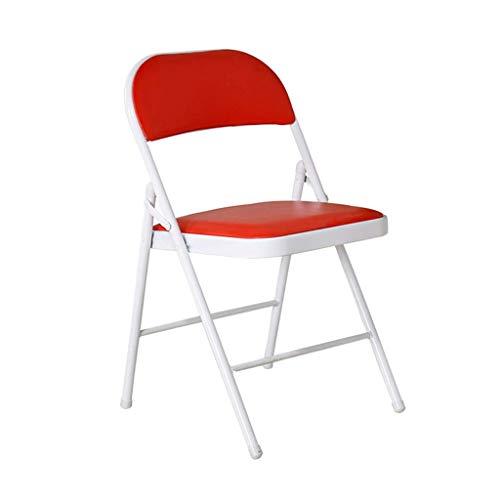 WY Silla de Oficina Silla Plegable Mesa de PU Volver Confort Sencillo y sin Espacio Interior casero Conferencia de Mesa Silla de Oficina Mesa (Color : Red)