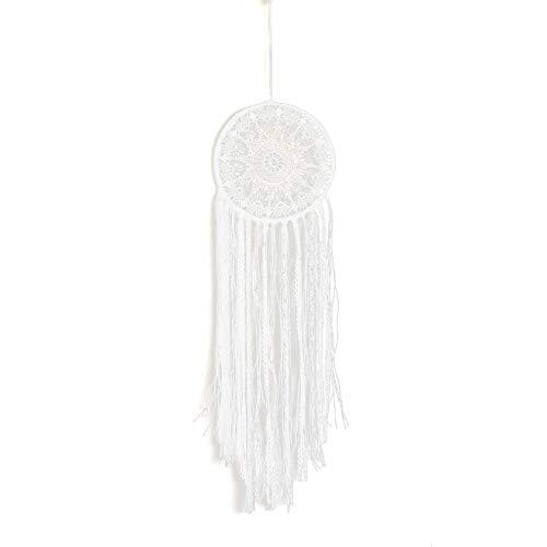HUAJIA Atrapasueños Adornos para Niñas Crochet Encaje Borla Atrapasueños Hogar Oficina Boda Decoración para Colgar En La Pared Blanco