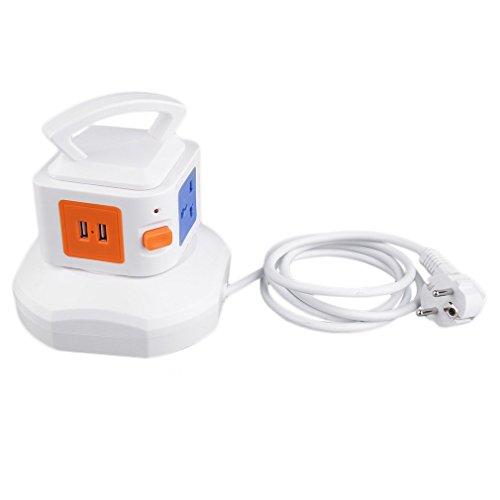 HehiFRlark Smart 3-Steckdose mit 2-USB-Anschlüssen Steckdose Überspannungsgeschützte Steckdosenleiste EU Blau&Weiß
