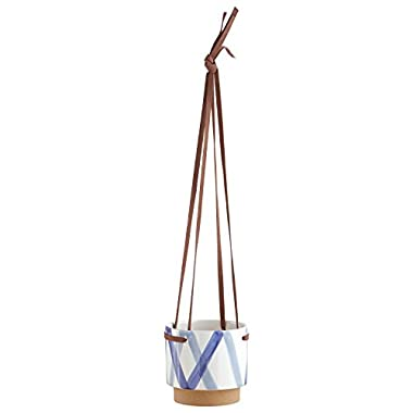 Rivet Modern Ceramic Planter with Leather Strap, 5.3  H, Blue and Ivory