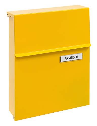Arregui Line E6808 Individueller Briefkasten aus Stahl, Größe S (DIN A5), Gelb, 30,5 x 23 x 6,5 cm