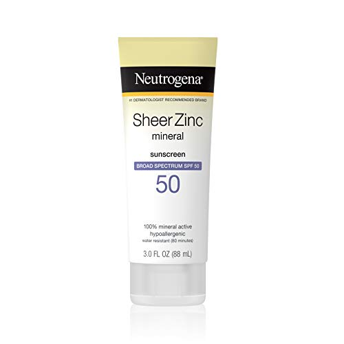 Neutrogena Sheer Zinc Oxide Dry-Touch Sunscreen Lotion with Broad Spectrum SPF 50, Water-Resistant, Hypoallergenic & Non-Greasy Mineral Sunscreen, 3 fl. oz