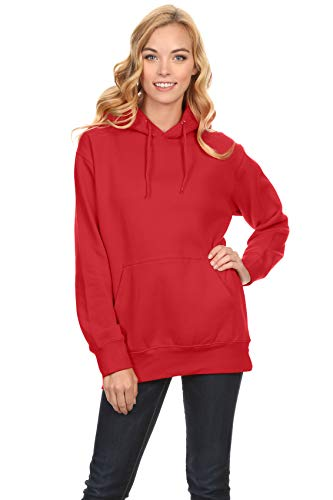 Simlu Red Pullover Hoodie, Red Sweatshirt, Red Sweater Red Hoodies for Women,Red,Small