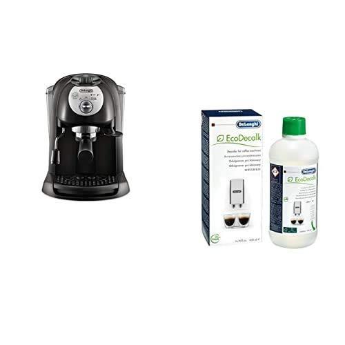 De'Longhi EC 201.CD.B Macchina da Caffè per Espresso e Cappuccino, Caffè in Polvere o in Cialde E.S.E., 1100 W, Nero + Decalcificante Macchine Caffè Ecologico, 500 ml