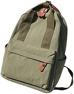 TOOGOO Nylon Bag Backpack Men and Women Large Capacity Solid Color Travel Bag Clutch Bag Green