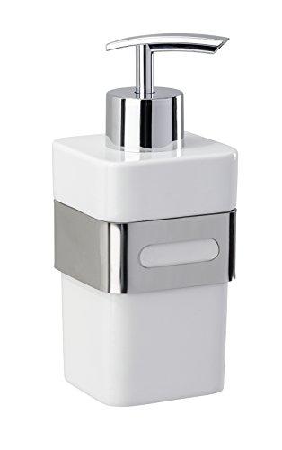 WENKO Seifenspender Premium Plus - Flüssigseifen-Spender, Spülmittel-Spender Fassungsvermögen: 0.34 l, Edelstahl rostfrei, 7 x 15.5 x 9 cm, Glänzend