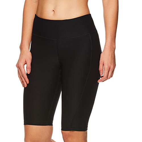 Reebok Women's Compression Running Shorts with Phone Pocket - High Waisted Performance Workout Short - 11 Inch Inseam - Quick Training Short Black, Small