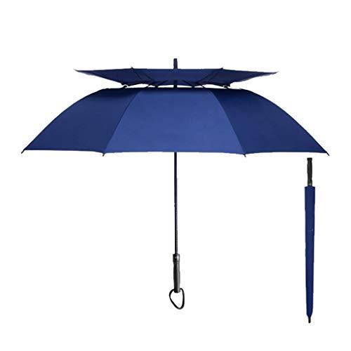 DWQ Paraguas japonés automático de Doble Capa de 10 Triple-Hueso Grande Paraguas Reforzado Resistente al Viento Vinilo Paraguas al Aire Libre (Color : Blue)