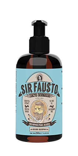 Sir Fausto Champú Barba y Bigote/Beard Shampoo/Acción Antibacteriana & Antiséptica Ingredientes Naturales: Árbol de Te & Te Verde, Proteina Baobab 250ml