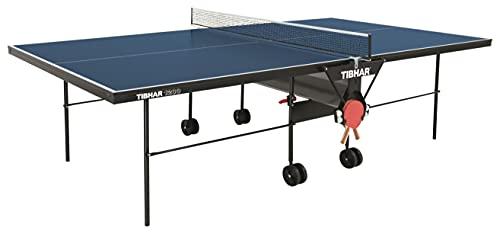 TIBHAR Tischtennisplatte Indoor 1200 inkl. Netz Designed by Sponeta | Tischtennistisch für drinnen | 16 mm | Allein-Training | Turnier-Maße | rollbar | klappbar | 62,5 kg | blau