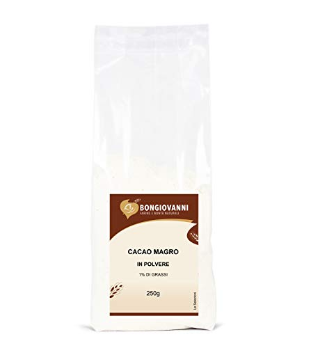 Bongiovanni Farine e Bonta' Naturali Cacao magro in polvere 1% di grassi - 250 g