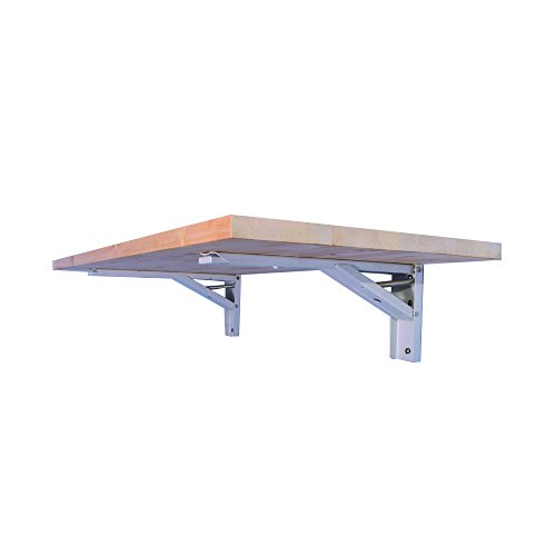 The Quick Bench folding wall mounted workbench with 20 x 48 collapsible butcher block solid wood top Clear UV Finish or Unfinished