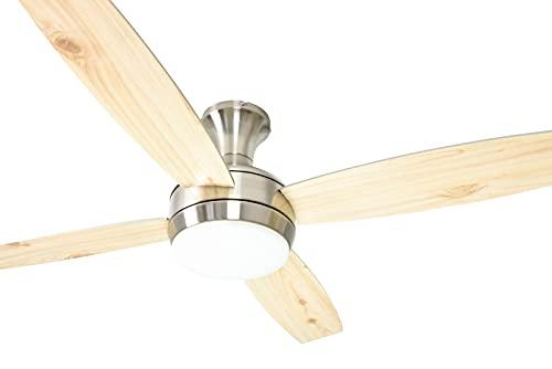 AireRyder FN72238 Ventilador de techo con mando a distancia y la iluminación, 50 W, 240 V, plata, 132 cm