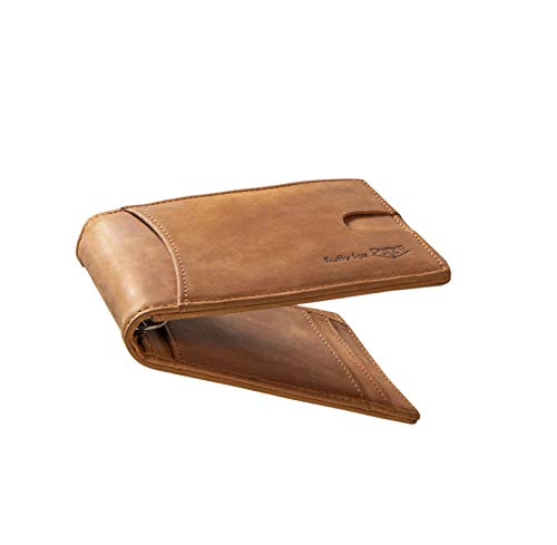 ⌊Rich⌋ Slim Wallet aus hochwertigem Leder mit Geldklammer, Münzfach, Sichtfenster, RFID-Schutz und Platz für mindestens 8 Karten - Premium Kreditkartenetui von fluffy fox® (Saharabraun)