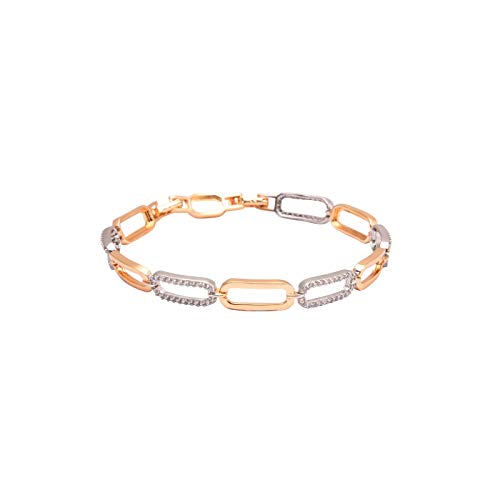 House of Meèsse Women's Link Bracelet with alternating White & Rose links, Rhodium-18K Gold Plated, 5A Cubic Zirconia, Comes with an Elegant Gift Box