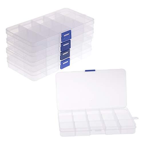 non-brand Sharplace Boîte de Rangement Plastique Boîte de Pêche pour Attirail Hameçon Leurres - Clair, Grille 5x15