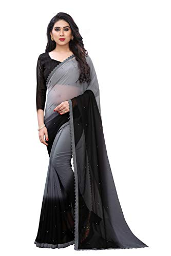 Blue Wish Women's Georgette Saree With Unstiched Blouse Piece