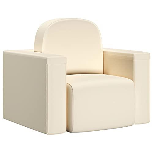 vidaXL Sofá Infantil 2 en 1 Niños Sillón Asiento Silla Salón Sala de Estar Dormitorio Habitación Muebles Mobiliario Cómodo de Cuero Sintético Blanco
