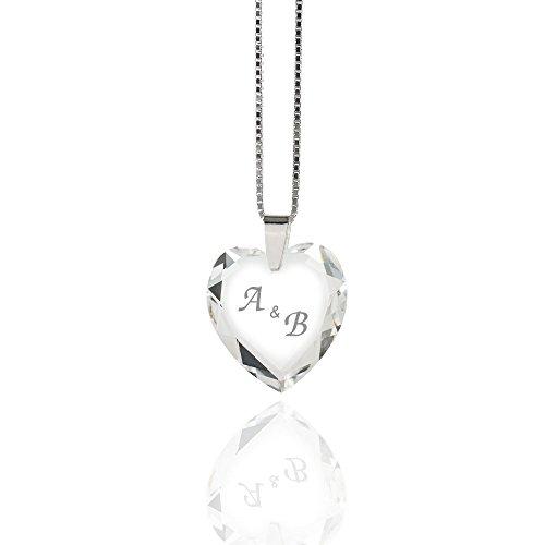 Damen Halskette 925 Sterling Silber mit SWAROVSKI ELEMENTS Herz individuell gestalten