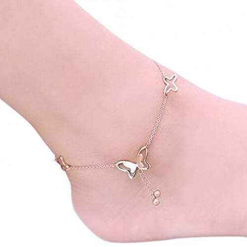 HONGYAN 22Cm Romantischer Schmetterling Silberfarbene Fußkettchen Für Frauen Mädchen Schöne Versandzubehör Hochzeitsfeier Anlass