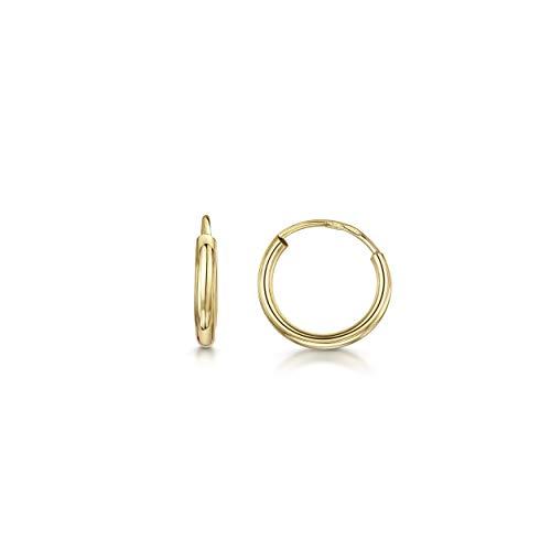 Amberta 9 Kt Gelbgold - Ohrringe - Klassische Damen Kreolen - 10 mm Durchmesser
