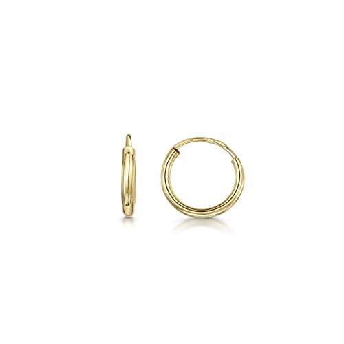 Amberta 9ct Real Yellow Gold Hoops - Sleeper Creole for Women - Classic Round Endless Earrings - Diameter: 10 mm