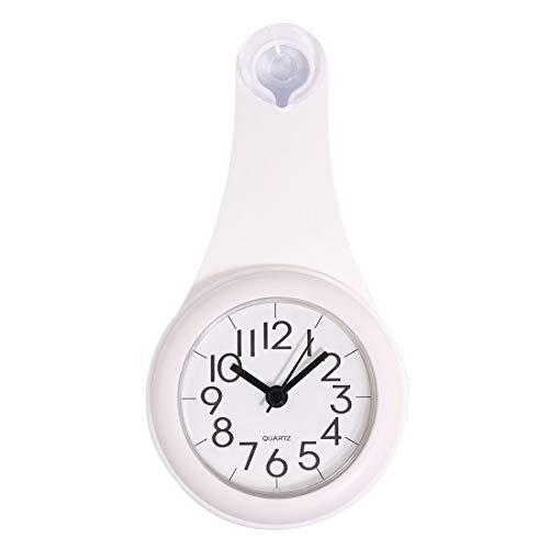 NSYNSY Badezimmeruhr, wasserdichte Wanduhr ohne Ticking mit Saugnapf für Badezimmer, Duschraum, Waschraum - (Weiß)