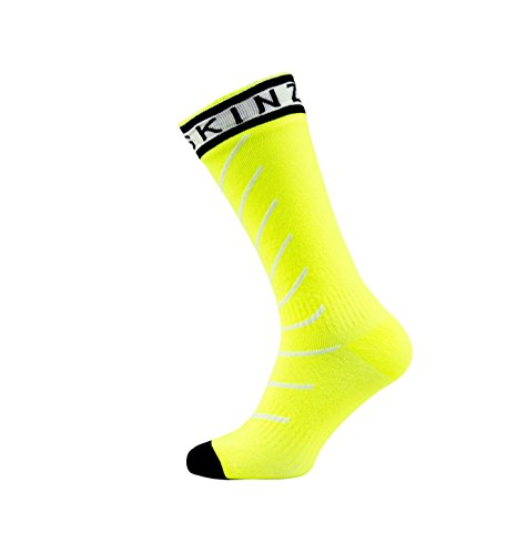 SealSkinz unisex Mid Length with Hydrostop Socken, Yellow (Hi Vis Yellow/White/Black), 9-11 UK