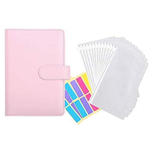 Cuasting 12 buste trasparenti in plastica A6 per raccoglitore, sistema di buste impermeabili per contanti, con etichette adesive B