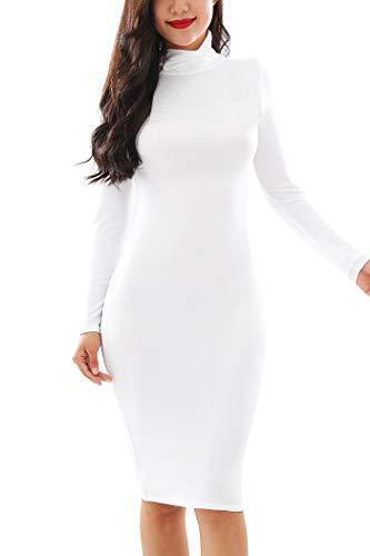 YMING Damen Kleid Sexy Midi Clubwear Turtelneck Kleid Langarm Cocktailkleid,Weiß,S/DE 36-38