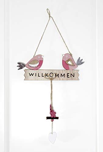 LB H&F Türhänger Dekohänger Willkommen Vogel Frühling Ostern Holz (Willkommen Vogel)