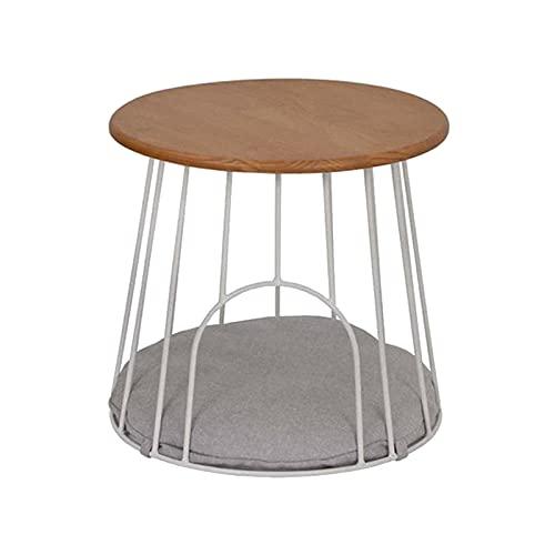 Mesa de Centro Mesa de centro Nordic Iron Art 50x47cm, mesa auxiliar simple de madera maciza, también se puede utilizar como arena para gatos, sofá redondo Mesa de almacenamiento d(Color:mesa de café)