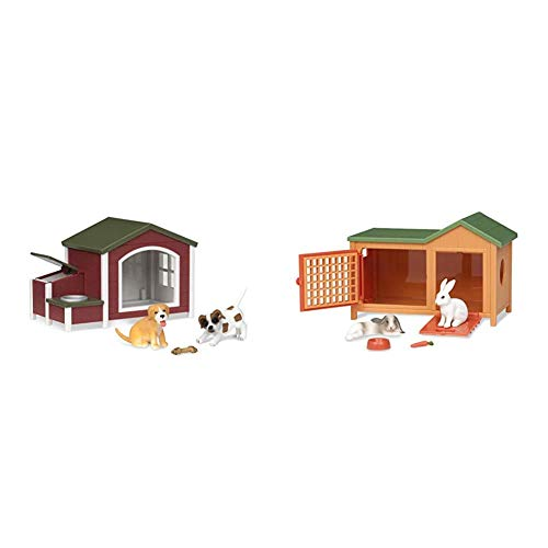 Terra by Battat – Dog House – Toy Dog Figure Playset for Kids 3-Years-Old & Up (5 Pc) & Bunny Hutch – Bunny Rabbit Toy Animal Figure Playset for Kids 3-Years-Old & Up (5 Pc)