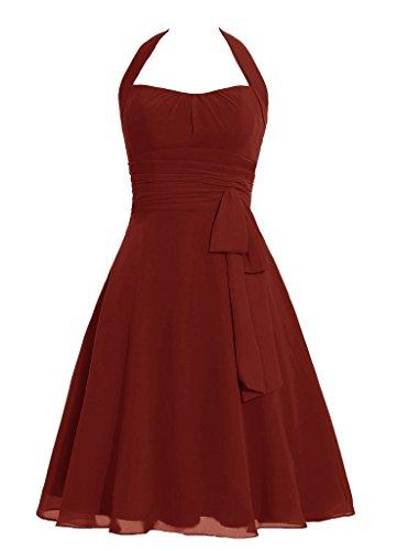 Snowskite Women's Halter Knee Length Chiffon Homecoming Prom Bridesmaid Dress Burgundy 4