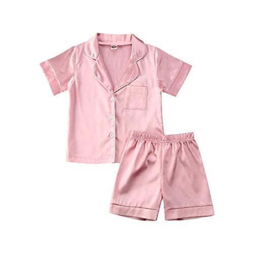 Kids Toddler Baby Girl Boy Satin Pajamas Set Short Sleeve Button Down Pajama Shirt Top+Shorts Bottoms Sleepwear Outfits (Pink , 6-12 Months )