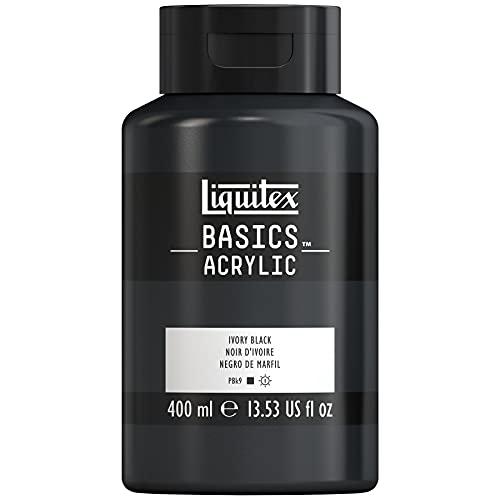 Liquitex Basics Bote De Pintura Acrílica, Negro de marfil, 400 ML