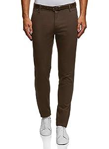 oodji Ultra Hombre Pantalones de Algodón con Cinturón, Marrón, 42