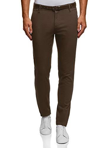 oodji Ultra Hombre Pantalones de Algodón con Cinturón, Marrón, 44
