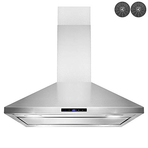 AKDY 36 in. Convertible Island Mount Kitchen Range Hood in Stainless Steel with LED Lights, Touch Control and Carbon Filters