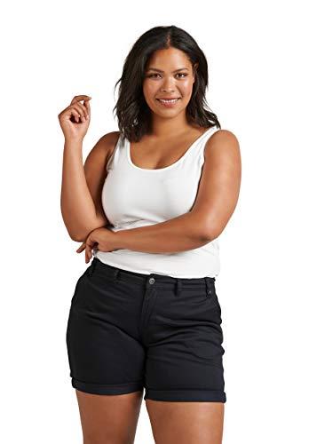 Zizzi Damen Sommer Shorts Straight Fit Kurze Hose Sommerhose , Farbe: Schwarz, Gr. 48