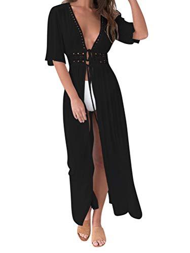 Minetom Damen Sommer Boho Kimono Lang Strand Cardigan Leichte Strickjacke Beachwear Bikini Cover Up Spitze Maxi Strandkleid B Schwarz M