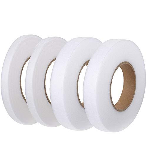 FOGAWA 4 Rollen Saumband zum Aufbügeln Bügelband 256 M Nahtband 10mm + 15 mm Formband Nähen für Textilien Gardinen Vorhang Rock Hosen Weiss