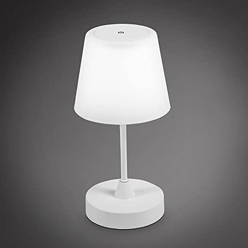 B.K.Licht I Luz de mesa LED de exterior I Lámpara de mesa IP44 I Lámpara de jardín con batería I Lámpara de mesa de noche I Lámpara de lectura I Atenuable I Blanco