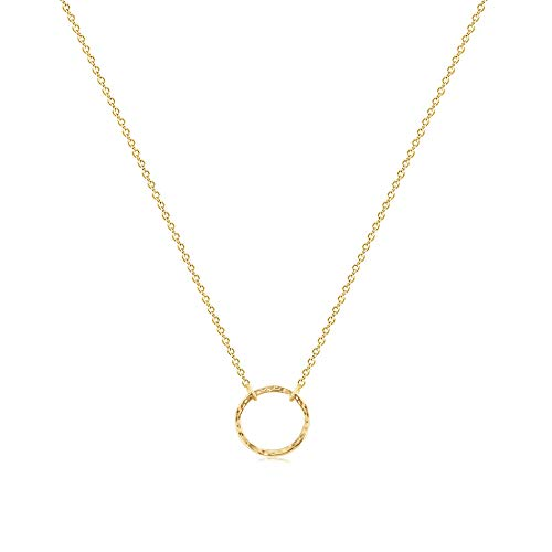Fettero Circle Choker Necklace Gold Karma Open Hammered Round Ring Pendant Dainty Short Chain 14K Gold Plated Minimalist Simple Boho for Women Jewelry Mother's Gift