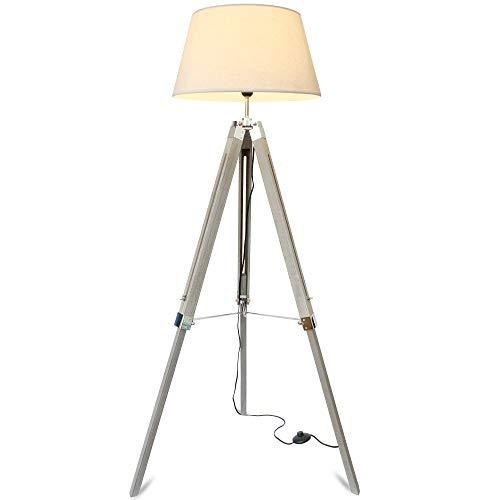 mojoliving® Stehlampe für das Wohnzimmer Schlafzimmer mit Stativ aus Holz Höhenverstellbar - Deko Stehleuchte Lampe Dreibein Schirm Beige, Stativ Braun